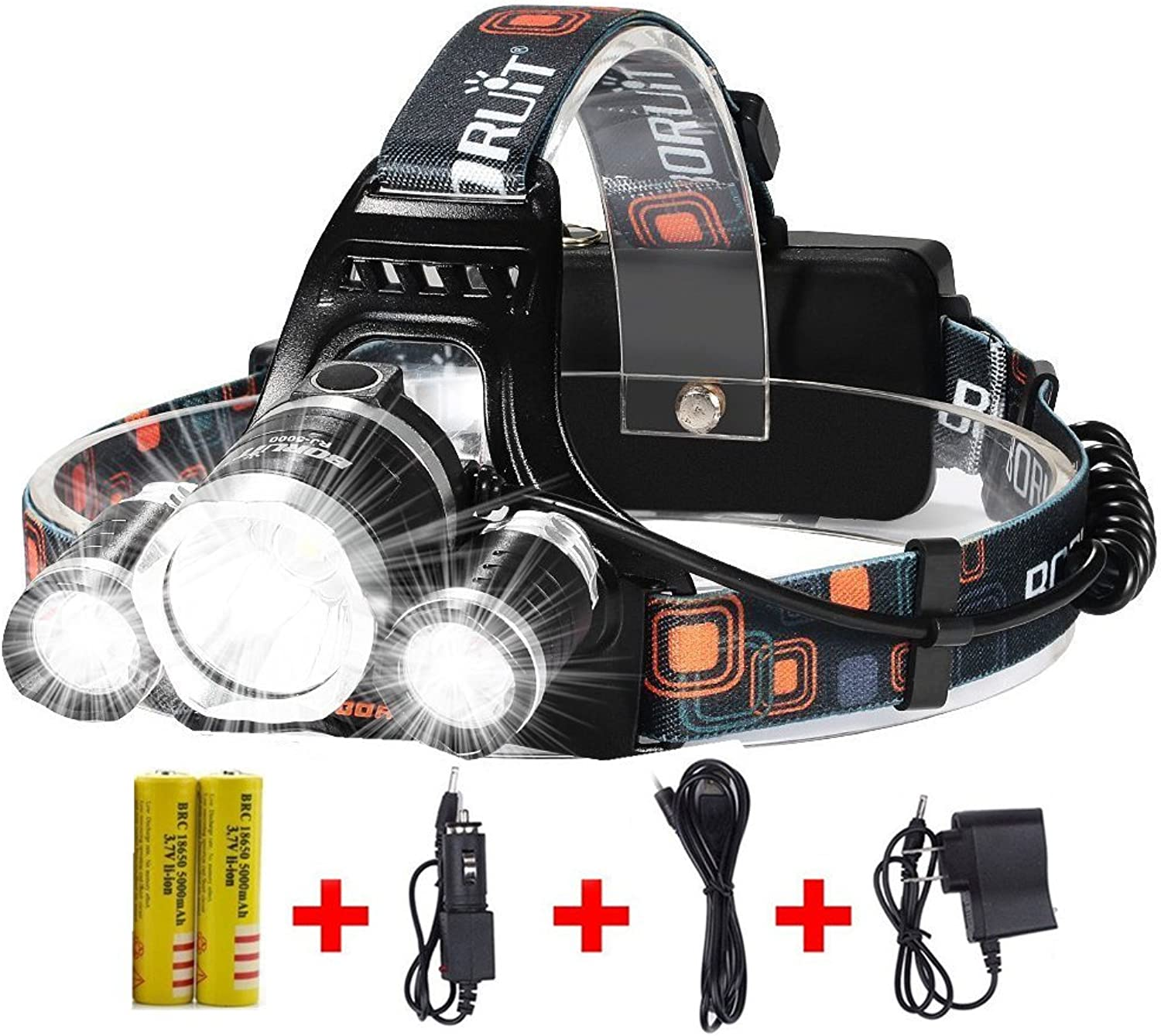 Brightest and Best LED Headlamp 10000 Lumen Flashlight Improved LED, Rechargeable 18650 Headlight flashlights Waterproof Hard Hat Light, Bright Head Lights, Running or Camping headlamps