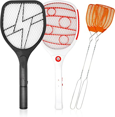 BUGKWIKZAP Electric LED Light Swatter - 4 Products in One Pack (Electric AA Battery,Electric USB, Hand Fly Swatter x 2) Set Fly Bug Mosquito Zapper Mesh Repellent Pest Control
