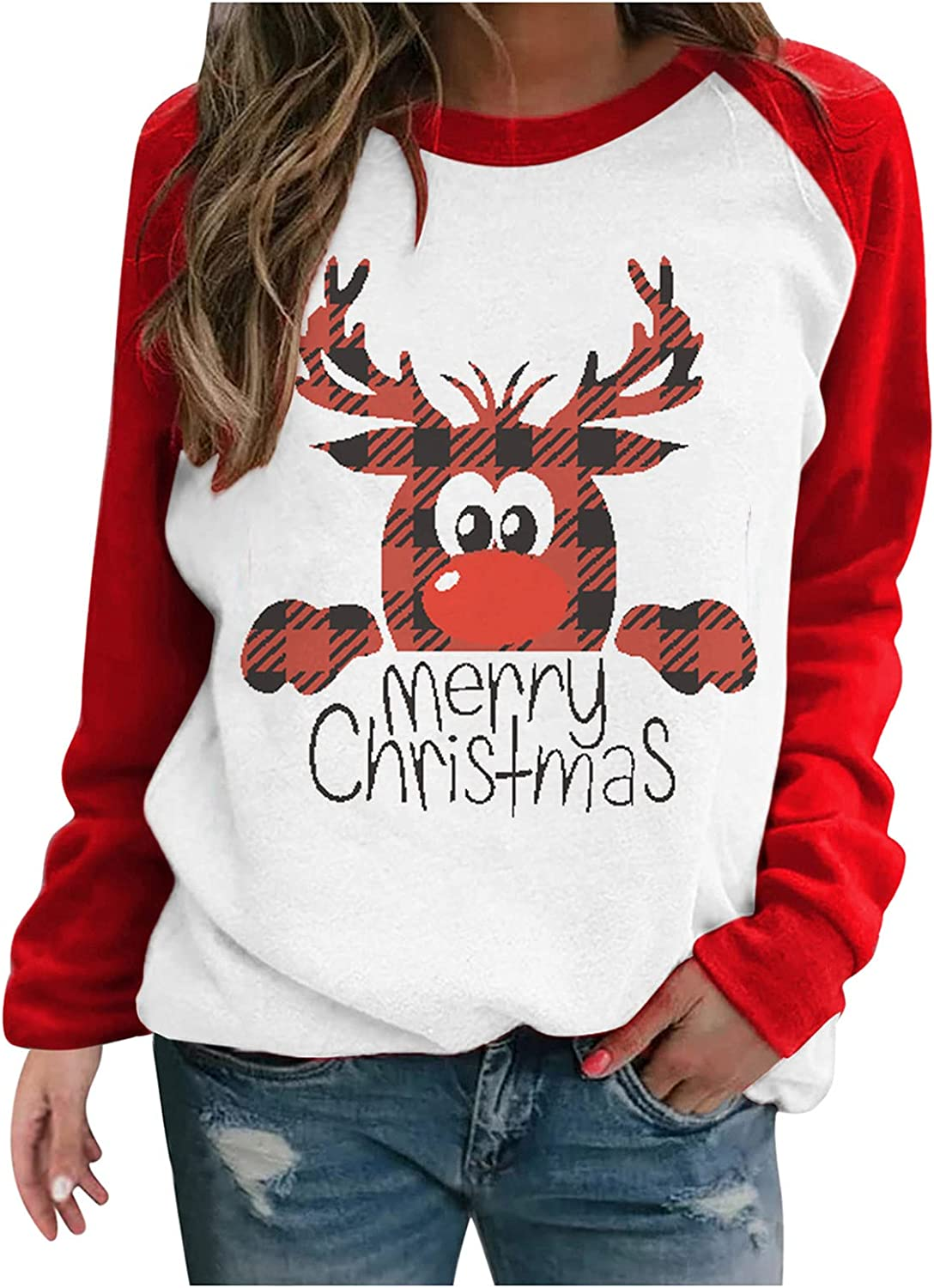Going Out Tops for Women Christmas Autumn O-Neck T-Shirt Cute Cartoon Print Blouse Loose Leisure Pullover