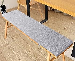 LRuilo Cojín de banco con lazos de fijación, cojín de jardín de 2 o 3 plazas, cojín de asiento de banco de 80/100/120 cm, cojín de silla para interior y exterior (gris, 120 x 35 cm)