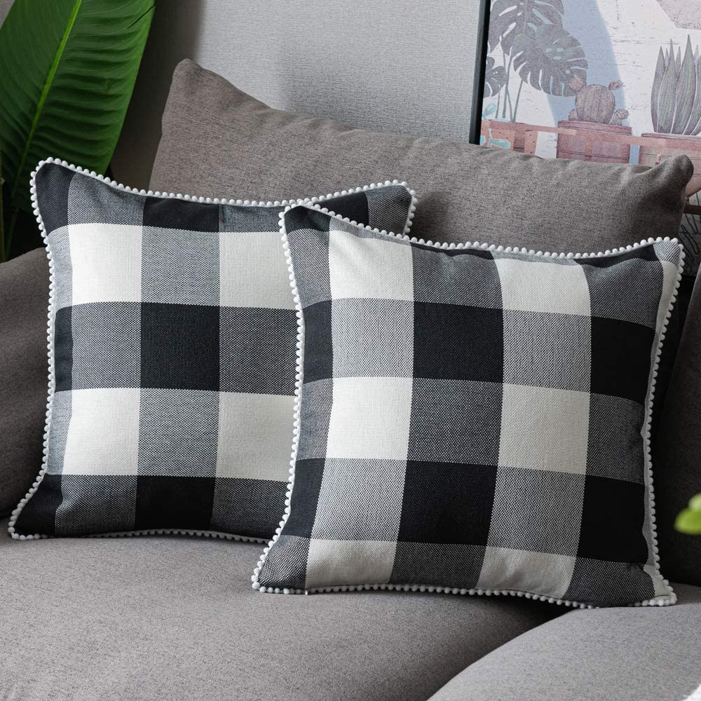 WLNUI Set of 2 Max 41% OFF Fall Black Pillow Plaid 16x16 Inch 2021 autumn and winter new Covers Buffalo