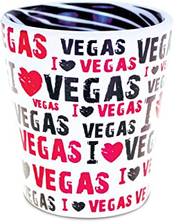 "CoTa Global""I Love Las Vegas"" Pink Zebra Pattern Tequila Whiskey Vodka Famous Sites Themed Ceramic Shot Glass Home Bar Too..."