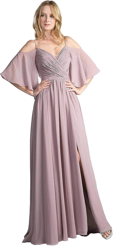 Cinderella Divine  CJ267 Cold Shoulders Flutter Sleeve Evening Dress