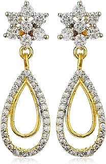 Estele Women's/Girls 24K Gold Plated Sparkling nakshatra drop Dangle Brass Metal Earrings (Golden)
