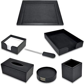 Executive Desk Set Italian PU Black Color - Set of 7 Pieces - FSDS171BK