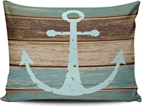 Fanaing Bedroom Custom D¨¦cor Nautical Anchor Weathered Wood Coastal Themed Pillowcase Soft Zippered Brown Aqua Mint and Turquoise Pillow Case Fashion Design One-Side Printed Standard 20x26 Inches