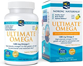 Nordic Naturals Ultimate Omega Fish Gelatin - Concentrated Omega-3 Burpless Fish Oil in Fish