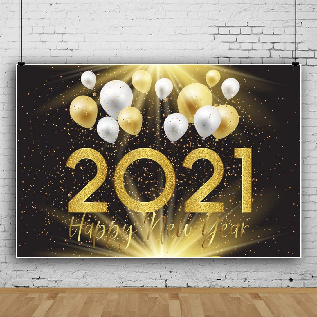 Renaiss 20x10ft 2021 Happy New Year Backdrop Glitter Sequins Stars Balloons Spotlight Photography Background Winter Holiday New Year Xmas Christmas Eve Carnival Party Celebration Photo Studio Props