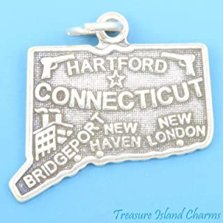 Connecticut State Map .925 Solid Sterling Silver Charm Pendant Jewelry - Charm Crazy