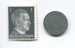 Rare Nazi Swastika 1 Reichspfennig German Coin World War Two WW2 with Black Hitler Head Stamp MNH