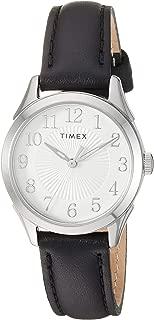 Timex Briarwood - Reloj analógico de cuarzo para mujer (correa de piel, 28 mm, modelo TW2T666009J), color negro