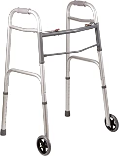 DMI Lightweight Aluminum Folding Walker with Easy Two Button Release, 5 Inch Wheels, Adjustable Height, No Assembly Neede...