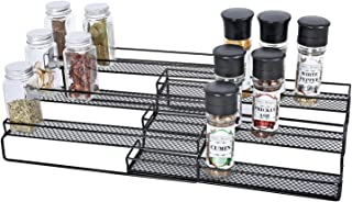 JANE EYRE 3-Tier Expandable Spice Rack for Cabinet & Pantry, Adjustable Kitchen Countertop Storage Organizer, Cans & Jars Step Shelf with Protection Railing (12.5 to 25W), Black
