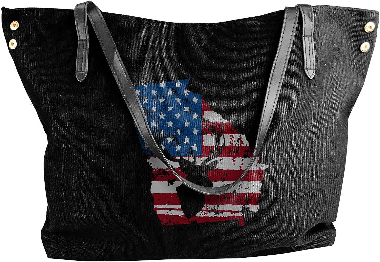American Flag Georgia Deer Hunting Distressed Women'S Leisure Canvas Handbag For Shopping Work Bag