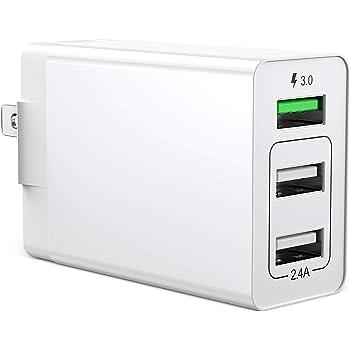 【PSE認証】 USB充電器 QC3.0 搭載 ACアダプター 折り畳み式プラグ 30W 3ポートUSB急速充電器 軽量 コンパクト スマホ急速充電 海外対応 iPhone iPad Samsung Galaxyなと対応