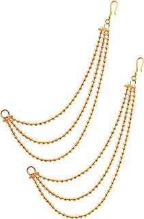 MEENAZ Brass copper Gold kanchain 3 layer long bridal wedding ear kan chain Champaswaralu earchains Ear Chains for Hair Jh...
