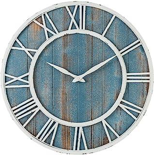 ساعت دیواری بدون صدا مدل شهر قدیمی خانه ی رعیتی،از فلز و چوب خالص به رنگ آبی ساحلی اندازه ۱۸ اینچ