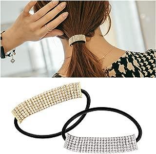 Casualfashion 2Pcs Designer Fashion Elastic Rhinestone Hairtie Ponytail Holder Headband Hair Ties Accessories for Women Girls Hair Band
