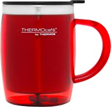 THERMOcafe by Thermos Stainless Steel Inner Plastic Outer Desk Mug, 450ml, Red, THM4RAUS