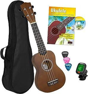 CASCHA HH 3956 GB Ukulele Soprano con cuerdas de AQUILA, bolsa de almacenamiento, formación en ukelele en ingles (+DVD), afinador y 3 púas