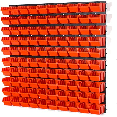 Panel organizador 4 paneles 100 cajas apilables con abertura frontal color naranja