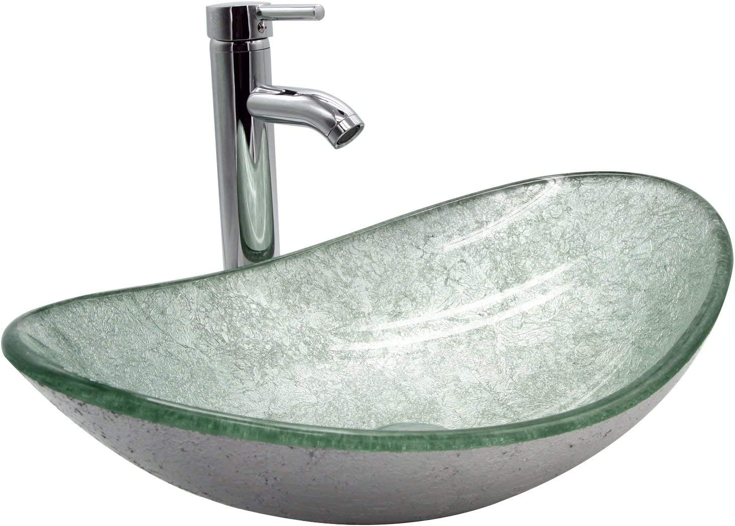 Buy Doit Bathroom Oval Silver Green Glass Vessel Sink Bowl With Chrome Faucet And Pop Up Drain Combo Set Oval Online In Taiwan B07tdptbnk