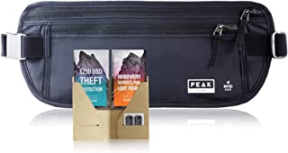 Peak Travel Money Belt with RFID Block, Theft Protection and Lost & Found Tags, Black (XL Belt)