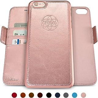 dreem Fibonacci 2 en 1 Funda iPhone 6/6s Cuero Vegano Tipo Billetera | Funda Magnética Desmontable a Prueba de Golpes TPU Fino | Protección RFID |Caja de Regalo | Oro Rosa