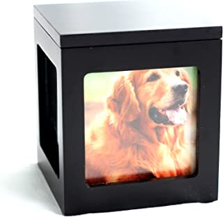 Heavenly Home Pet Keepsake Multiple Photo Cube Pet Urn for 1 to 4 Pictures Cremation Memorial for Pet Lovers Acrylic Glass Photo Protector Resting Place for Cat or Dog