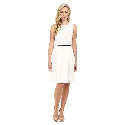 Calvin Klein Floral Lace Flare Dress (Soft White) Women