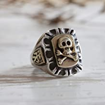 Mexican Biker Ring sterling silver Vintage skull crossbones pirate Caribbean sea