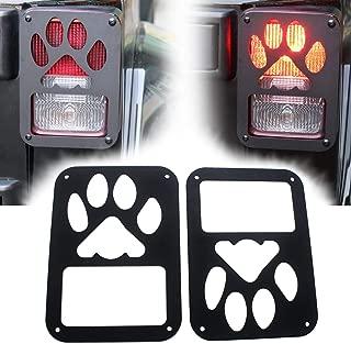 Matte Black Tail light Guard Cover Protector for 2007-2017 Jeep Wrangler JK JKU (Pack of 2 Dog Paw)