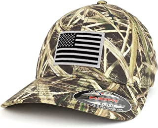 5dce69731 Armycrew XXL Oversized Mossy Oak Black White American Flag Patch Flexfit Cap