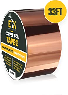 Copper Foil Tape with Conductive Adhesive for Guitar & EMI Shielding, Slug Repellent, Crafts, Electrical Repairs and Grounding (2