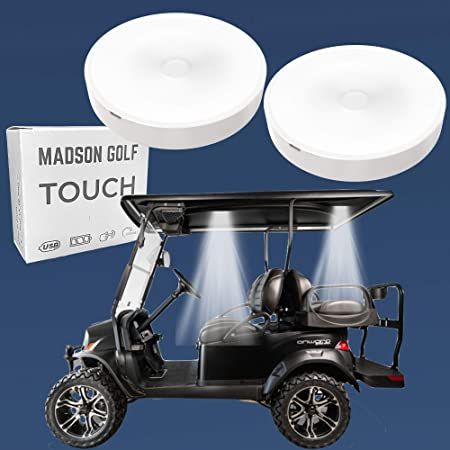 2-Pk Universal Golf Cart Roof Stick On Anywhere One Touch LED Light fits Club Cart, Onward, Precedent, EZGO, Yamaha, and Garia carts, USB Rechargeable Puck designed for golf cart use, Great Golf Gifts