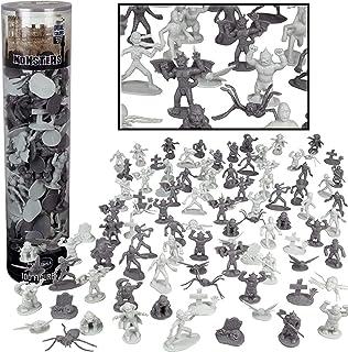 Monster Mini Action Figure Playset- 100 Horror Toy Miniatures w 13 Unique Sculpts - Dracula, Frankenstein, Giant Spiders a...