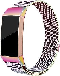 Jennyfly Bracelet en métal compatible avec Fitbit Charge 4 - Réglable de 13,5 à 20,1 cm - Bracelet en acier inoxydable com...