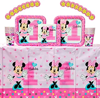 Minnie Mouse Fun to be One Birthday Party Supplies Pack for 16 Guests: 16 Stickers, 16 Dinner Plates, 16 Luncheon Napkins, 16 Cups, and 1 Table Cover; Minnie Mouse Party Supplies, First Birthday Decorations
