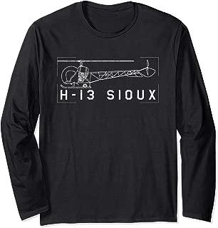 H-13 Sioux Korean War Helicopter Vintage Blueprint Gift Long Sleeve T-Shirt