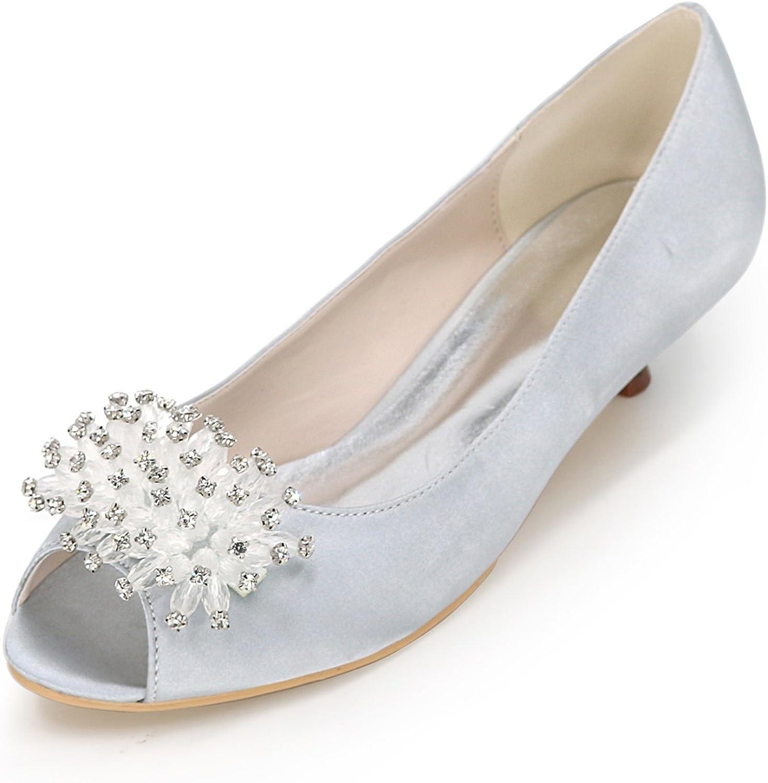 Elobaby Frauen Frauen Frauen Hochzeit Schuhe Niedrigen Absatz Satin Blaumen Moderne Neue Weiße Chunky Kleid Mode Größe 35-42 3,5 cm  460f32
