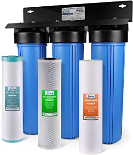 "iSpring WGB32BM 3-Stage Whole House Water Filtration System w/ 20"" x 4.5"" Big Blue Fine Sediment, Carbon Block, and Iron & Manganese Reducing Filters"