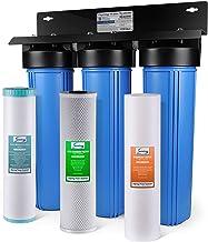 iSpring WGB32B-PB sistema de filtración de agua para toda la casa de 3 etapas con sedimento azul grande de 20 pulgadas, bloque de carbono y filtro reductor de hierro y plomo, Acero (Iron & Manganese Removal), Azul