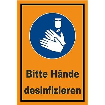 3mm Aluverbund Bohrl/öcher Schild 15x10cm Bitte H/ände desinfizieren 20 Varianten
