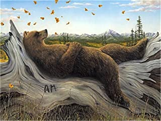Diy Oil Paint by Number Kit for Adults Beginner 16x20 inch - Thinking Bear, Drawing with Brushes Christmas Decor Decorations Gifts (Without Frame)