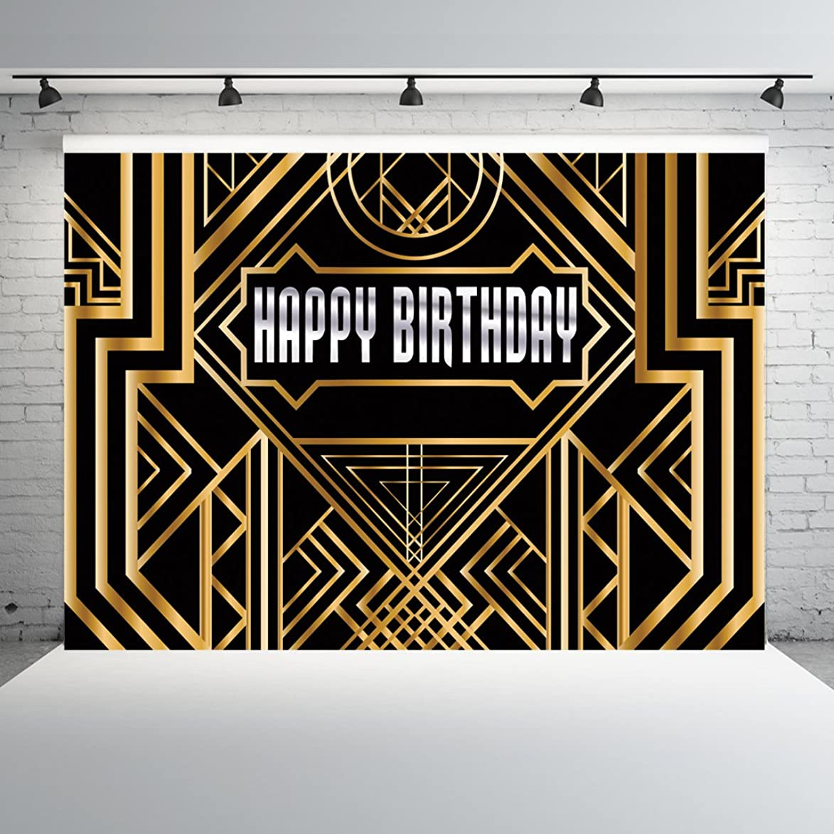 Dudaacvt 8X6ft Black Photography Backdrops Great Gatsby Happy Birthday Golden Abstract Geometric Background Gold Grill Photo Studio Props for Artdeco Q0170806