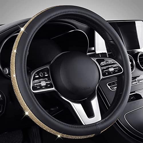 Bling Steering Wheel Cover, Gold Rhinestone Car Steering Wheel Protector with Anti-Slip Design, 15 Inch Auto Interior for Women Girls, Universal Fit for Most Car Truck SUV, Diamond Gold