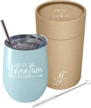 And So The Adventure Begins | Fancyfams, 12 oz Stainless Steel Vacuum Insulated Wine Tumbler with Lid and Straw- Graduation, Promotion, Going Away, Moving Away, New Job, Divorce (Blue)