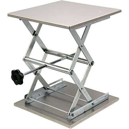 """HFS (R) Plate 12x12""""; Overall Height 15""""; Lab Jack Scissor Stand Platform LAB Load Bearing 25kg/55lbs"""