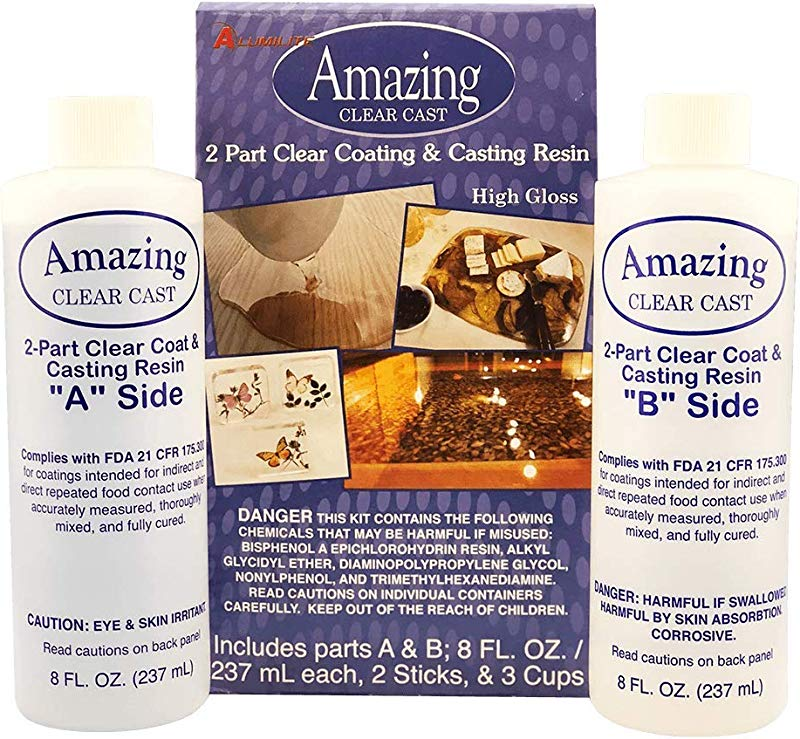 Alumilite Amazing Clear Cast 8 Oz Of Clear Coating And 8 Oz Of Casting Resin