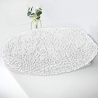 MAYSHINE Seat Cloud Bath Washable Shaggy Microfiber Standard Toilet Lid Covers for Bathroom -White